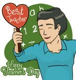 Pedagog z prezentem od jego uczni Świętuje Teacher& x27; s dzień, Wektorowa ilustracja ilustracja wektor