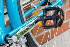 Pedal of a bicycle. Chrome closeup detail Stock Photography