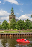 Pedal boat in a canal in Nordhorn Royalty Free Stock Images