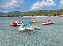 Pedal boat day-trip, enjoying in the sun . Royalty Free Stock Images