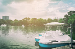 Pedal boat parking on a pier in a park lake. Royalty Free Stock Image