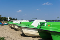 Pedal boats on the beach Stock Images