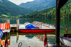 Pedal boats grouped together on the lake Stock Photography