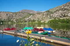 Pedal boats on a lake Royalty Free Stock Images