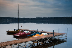 Pedal boats on the lake royalty free stock images