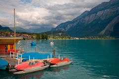 Pedal Boats on Lake Brienz, Switzerland royalty free stock photography