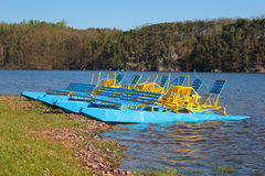 Pedal boats on a lake Royalty Free Stock Photography