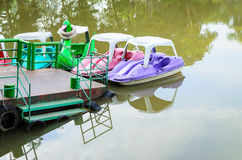 Pedal boats on a lake Stock Images
