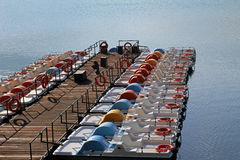 Pedal boats on the ledrosee Royalty Free Stock Photography