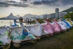 Pedal boats in Rio de Janeiro, Brazil royalty free stock photography