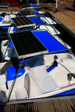 Pedal boats with solar panels at Pregnant Maiden lake Stock Images