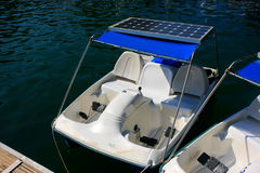 Pedal boats with solar panels at Pregnant Maiden lake Royalty Free Stock Photo