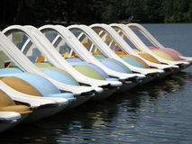 Pedal Boats waiting for summer Stock Image