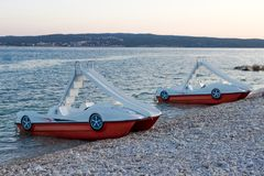Pedal-boats with water slides Stock Photos