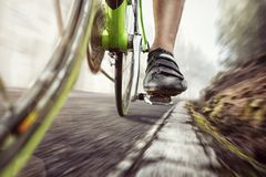 Pedal of a fast moving racing bicycle. Detail of a racing bicycle on an old forest road. Motion blur Royalty Free Stock Images