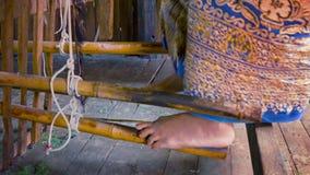 Pedal mechanism of ancient loom. Myanmar stock video