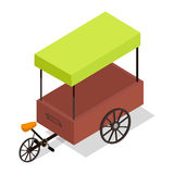 Pedal-powered Street Cart Store Isometric Vector Royalty Free Stock Image