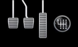 Pedali e dispositivo spostatore dell'automobile Fotografia Stock