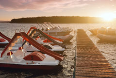 Pedalo boats. On the lake Stock Photography