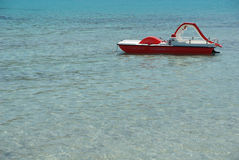 Pedalo on turquoise water Royalty Free Stock Photos