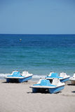 Pedalos on the beach. On the costa blanca in Spain stock photography