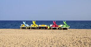 Pedalos boats on the beach Stock Images
