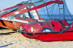 Pedalos boats on the beach. Red pedalos boats on the beach. Costa Brava, Spain royalty free stock images