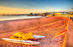 Pedalos Goodrington beach near Paignton Devon England on a summer morning Stock Photo