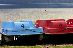 Pedalos. In Kochel lake in german Alps, Bavaria,Germany royalty free stock photos