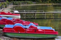 Pedalos. In Kochel lake in german Alps, Bavaria,Germany stock photo