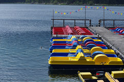 Pedalos in a lake. Pedalos in a mountain lake. Alps, Germany royalty free stock photo