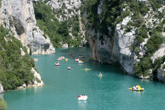 Pedalos traffic. Summer starting in the verdon Royalty Free Stock Image