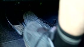 Pedals of a car. Driving manual gearbox stock footage