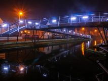 Pedastrian Bridge in Tullamore, Ireland at night Royalty Free Stock Photos