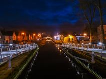 Pedastrian Bridge in Tullamore, Ireland at night Stock Image