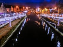 Pedastrian Bridge in Tullamore, Ireland at night Stock Photos