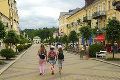 pedastrian liten stad för område Royaltyfri Fotografi