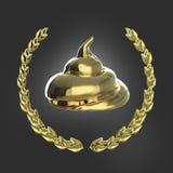 Pedazo brillante de mierda rodeado con la guirnalda de oro del laurel aislada en insignia oscura del fondo libre illustration