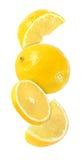 Pedazo colgando, el caer y el volar de frutas del limón aisladas Fotos de archivo