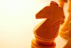 Pedazo de ajedrez de madera macro del caballo Imagen de archivo libre de regalías