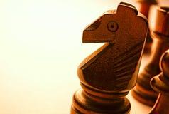 Pedazo de ajedrez de madera macro del caballo Fotografía de archivo libre de regalías
