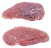 Pedazo de carne crudo (en blanco) Fotos de archivo libres de regalías