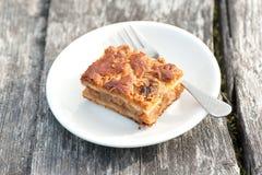 Pedazo de empanada de manzana/de torta con canela en la placa blanca de la porcelana fotografía de archivo
