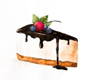 Pedazo de la acuarela de torta Fotografía de archivo libre de regalías