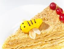 Pedazo de la torta de miel en un fondo blanco Fotografía de archivo