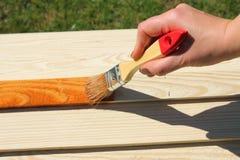 Pedazo de madera de pintura de los muebles Imagen de archivo libre de regalías