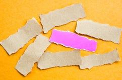 Pedazo de papel rosado y marrón del espacio en blanco de la hoja Foto de archivo libre de regalías