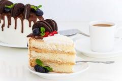 Pedazo de pastel de capas con las bayas frescas, queso cremoso de la vainilla Foto de archivo libre de regalías