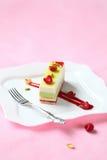 Pedazo de pistacho, torta de la crema batida de la frambuesa Imagen de archivo libre de regalías