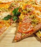 Pedazo de pizza de la carne Fotos de archivo libres de regalías